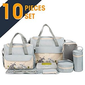 $26.99SOHO Collections, 10 Pieces Diaper Bag SetLimited time offer (Gray with Rabbits)