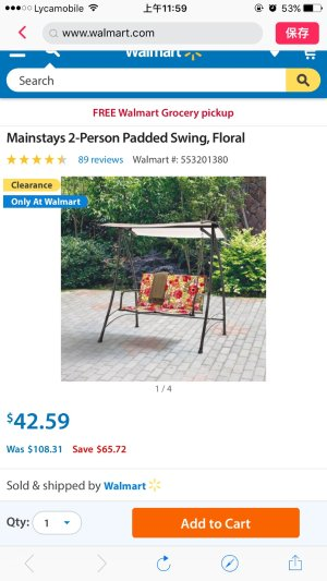 Mainstays 2-Person Padded Swing, Floral - Walmart.com