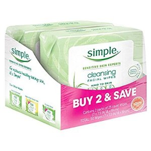 $6.57Simple Kind to Skin Facial Wipes Cleansing 25 ct ( Pack of 2)