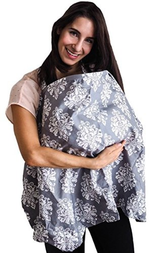 $19.99Bebe au Lait Premium Cotton Nursing Cover, Chateau Silver