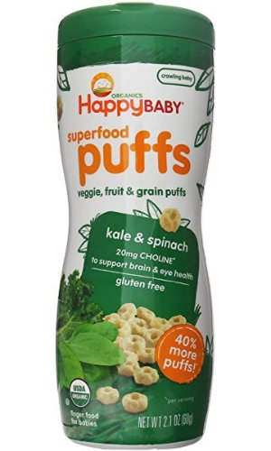 $9.95Happy Baby Organic Superfood Puffs, Kale & Spinach, 2.1 Ounce (Pack of 6)