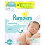 Pampers Baby Wipes Sensitive 9X Refill, 576 Diaper Wipes