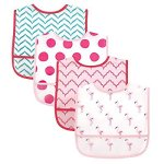 Luvable Friends 4 Piece Waterproof Bibs with Crumb Catcher, Flamingos