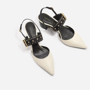 $49Chalk Studded Pointed Slingbacks | CHARLES & KEITH