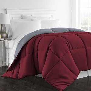$19AmazonBasics Reversible Microfiber Comforter - Full/Queen, Burgundy