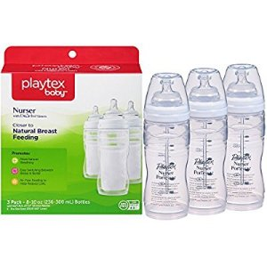 $8Playtex Baby Nurser Baby Bottle with Drop-Ins Disposable Liners, Closer to Breastfeeding, 8 Ounce - 3 Pack