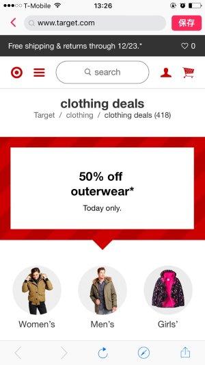 五折Clothing Sale : Target 现有冬季外套五折