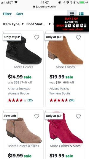 $14.99起,用折扣码再减$5女式靴子特卖