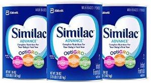 $58.13Similac Advance 婴儿1段配方奶粉2.25磅 3罐装 销量冠军
