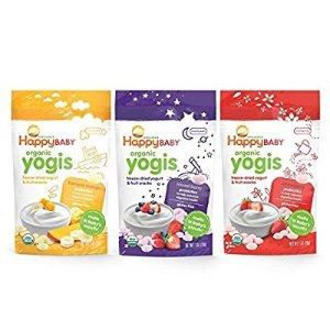 $13Happy Baby Organic Yogis Freeze-Dried Yogurt & Fruit Snacks, 3 Flavor Variety Pack, 6 Count