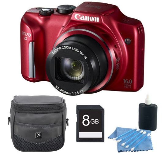 Canon PowerShot SX170 IS 16MP Digital Camera Red 8GB Kit