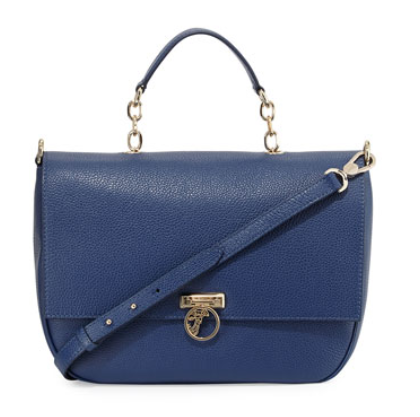 Versace  Pebbled Leather Flap-Front Satchel Bag, Bright Blue