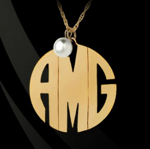 Block Monogram with Pearl Necklace by Jane Basch