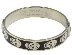 black and white enamel skull bangle