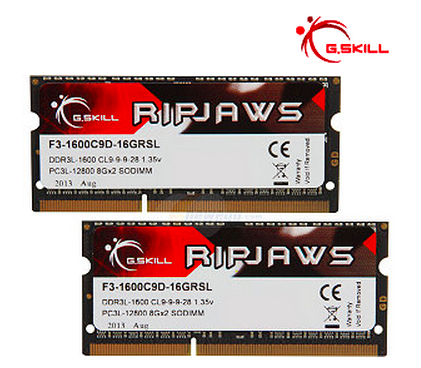 G.SKILL Ripjaws Series 16GB (2 x 8G) 204-Pin DDR3 SO-DIMM DDR3L 1600 (PC3L 12800) Laptop Memory Model F3-1600C9D-16GRSL