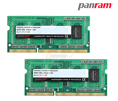 PANRAM 8GB (2 x 4GB) 204-Pin DDR3 SO-DIMM DDR3L 1600 (PC3L 12800) Laptop Memory Model PSD3L1600C114G2VS