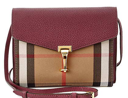 Burberry Macken Small Check Leather Crossbody