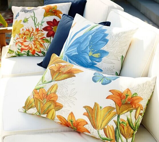 OUTDOOR LILY BOTANICAL PRINT LUMBAR PILLOW