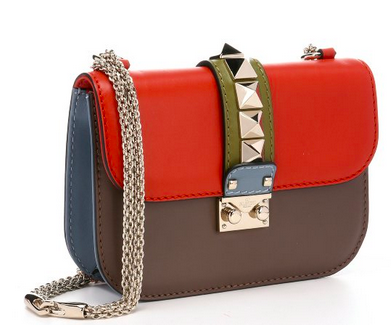 VALENTINO Orange And Taupe Leather Studded Chain Shoulder Bag