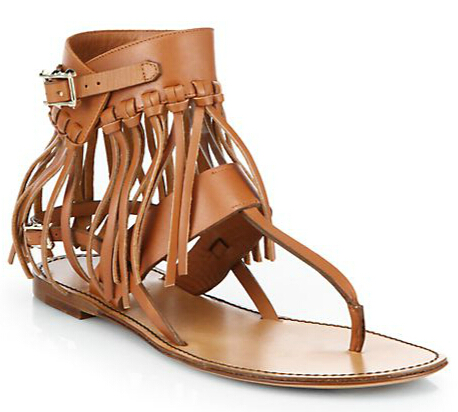 Valentino C-Rockee Leather Fringe Thong Sandals