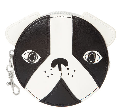 Black and White Faux Leather Bulldog Coin Purse