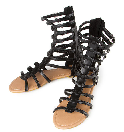 Gemma Black Gladiator Sandals