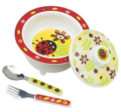 SugarBooger Covered Suction Bowl and Utensil Set - Ladybug