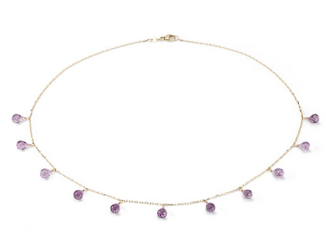 Amethyst Statement Necklace in 14k Yellow Gold