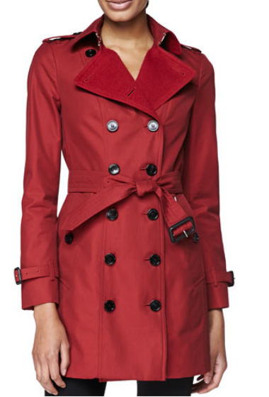 Burberry London  Double-Breasted Trench Coat with Felt Lapel, Military Red