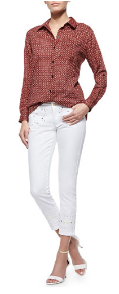 Nimera Printed High-Low Shirt & Embroidered Skinny Ankle Jeans