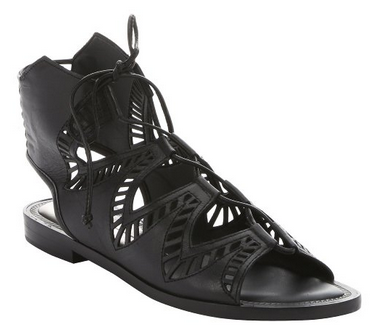 DOLCE VITA Black Laser-Cut Leather 'Deklon' Gladiator Sandals