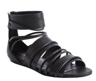 JAY ADONI Black Leather 'Karissa' Strappy Sandals