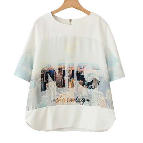 Letter Building Print Short Sleeve T-Shirt