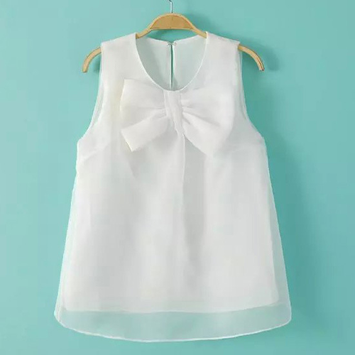 Bowknot Voile Tank Top