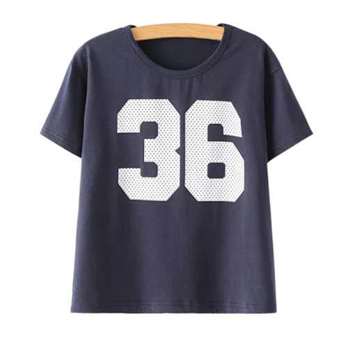 Number Pattern Short Sleeve T-Shirt