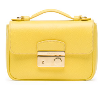 Prada	 Saffiano Mini Crossbody Clutch, Yellow (Girasole)