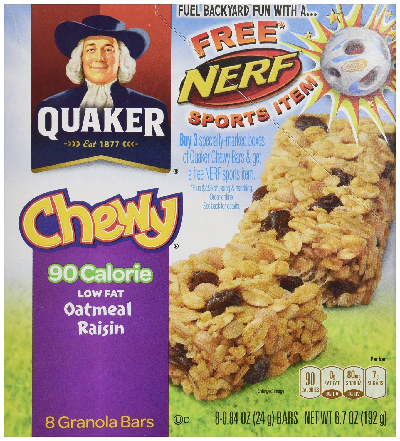 Quaker Oatmeal Raisin Chewy Granola Bars 90 Calories, 8-Count 0.84 Ounce Bars, (Pack of 6)