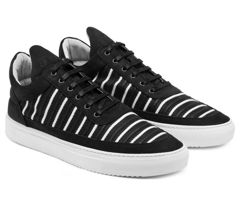 Black/White Mesh Striped Low Top Shoes