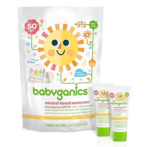Babyganics® 12-Pack Single-Use 50+SPF Mineral-Based Sunscreen Tubes