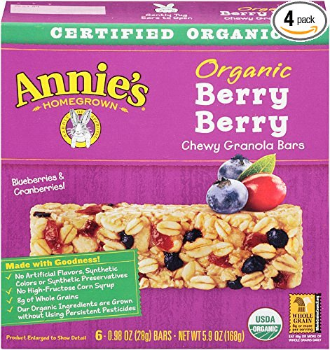 Annie's Organic Berry Berry Granola Bars, 0.98-Ounce Bars, 6 Count, (Pack of 4)