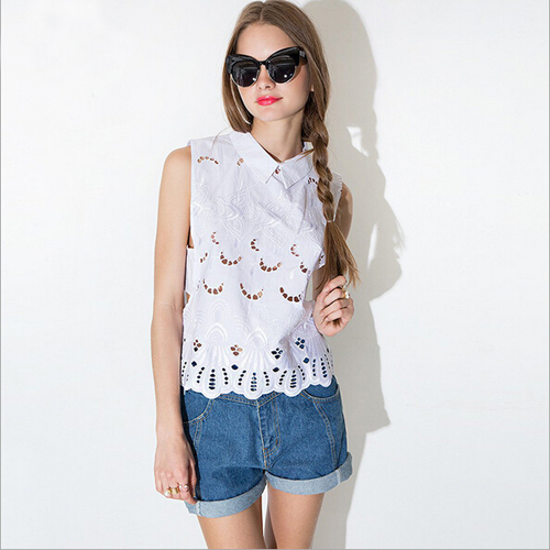 Openwork Embroidery Sleeveless Tank Top