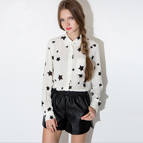 Polo Collar Black Star Print Shirt