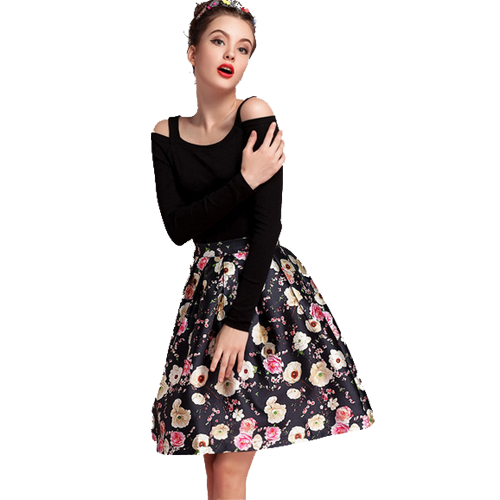 Floral High Waisted A-Line Skirt