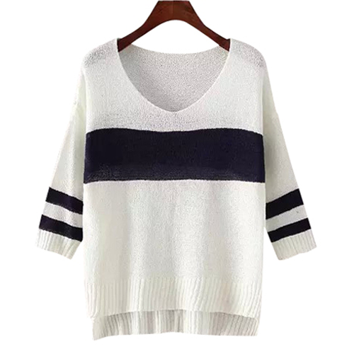 Stripes Color Block High Low Hem Sweater