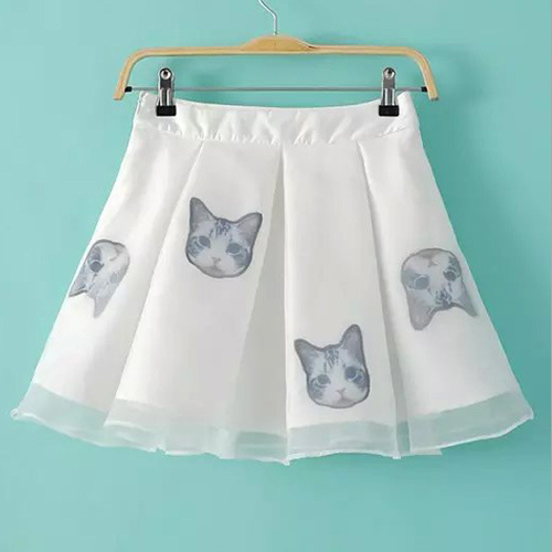 Kitten Print Voile Spliced A-Line Skirt