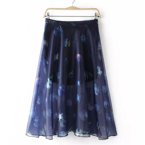 Jellyfish Print Zipper Fly Midi Skirt