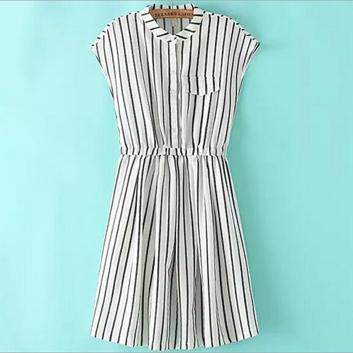Striped Stand Neck Sleeveless Dress