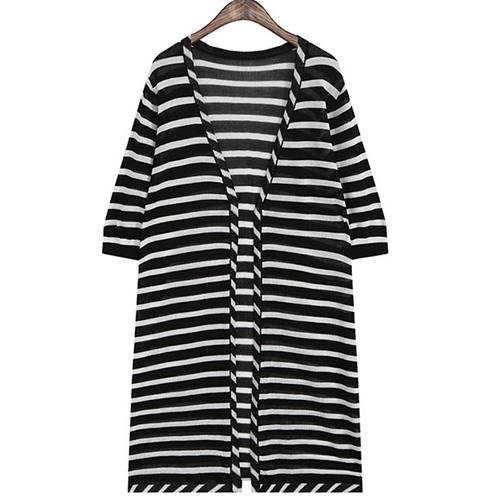V-Neck Stripes Half Sleeve Cardigan