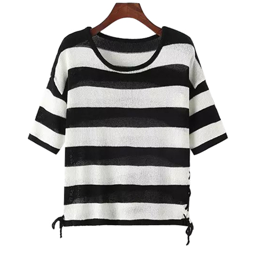 Short Sleeve Stripes Lace-Up Knitted Sweater