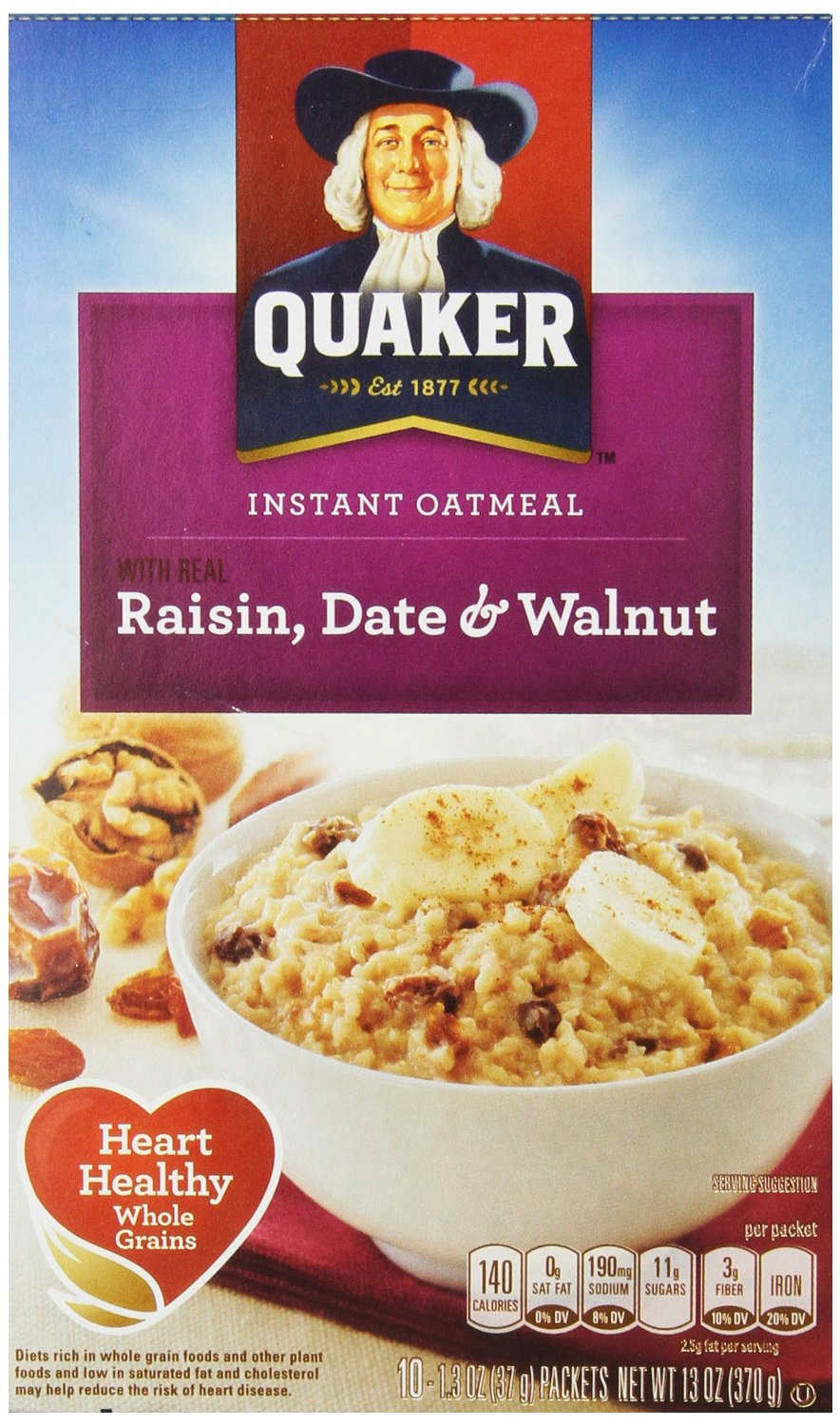 Quaker Instant Oatmeal Raisin, Date & Walnut, 1.3 oz., Packs, 10-Count Boxes (Pack of 4)